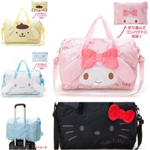 New  Japanese Toy Hello Kitty  My Melody Big Ears Cinnamoroll  Pudding Dog Stuffed Doll Plush 3D Cartoon Folding Travel Bag Toys