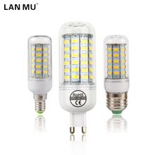 LAN MU LED Lamp E27 E14 G9 Corn Light SMD 5730 Lampada LED Bulbs 220V Chandelier Candle Luz 24 36 48 56 69 72 LEDs Lights(China)