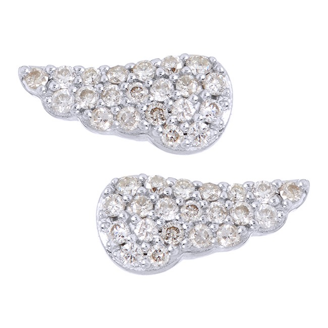 1/104 Ct Round Real Diamond Sterling Silver Mini Angel Wing Stud Earrings