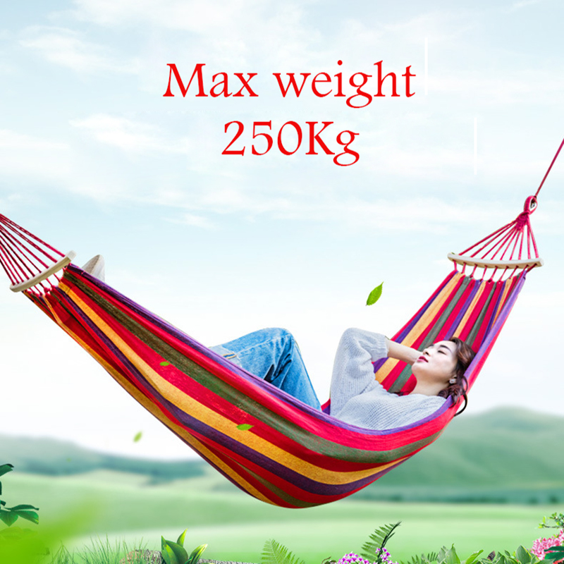 Parent-child Thicken Canvas Rollover Prevention with Wood Stick Camping Hammock Outdoors Durable Breathable Hammocks 100X200cm<br>