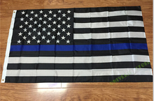 3X5FT thin blue stripes / thin red stripe / black and white American flag police logo free shipping(China)