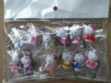 Free Shipping 5sets (12pcs/set) Cartoon Hello Kitty  Action Figures Cell Phone Strap Charms  For Best Gifts G-45