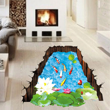 Floor Sticker Imitation 3D Stereo Fish Pool  Home Decoration Living Room Gound Decoration Beautiful Pond Wall Stickers Hot Sale!