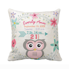 Custom Birth Stats Baby Girl Forest Creature Pink Owl Throw Pillow Cover Decorative Cushion Cover Sofa Seat Car Soft Pillowcase
