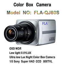 Clear Color CCD Box Camera monitor cctv 800TVL Sony Ultra Low Light 0.01lux Sony DSP Box Camaras security effio-e solution