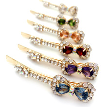 Women Wedding Hair Jewelry 6pcs Mix Color Bow Tie Big Zircon Crystal Hairpins Rhinestone Hair Clip barrettes Accessories(China)