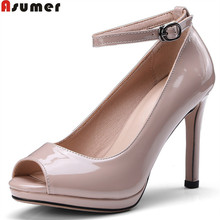 ASUMER 2018 fashion 봄 가 shoes woman peep toe 펌프 women shoes 버클 씬 힐 우아한 (high) 저 (힐 shoes size 341-43(China)