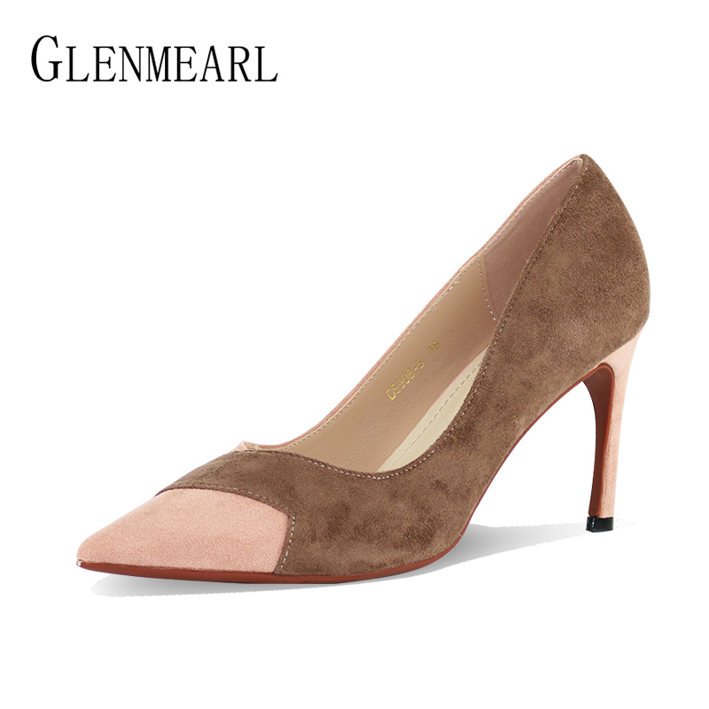 New Women Pumps High Heels Shoes Elegant Brand Color Mixed Pointed Toe Thin Heels Wedding Shoes Female Pumps Woman Party ShoesCE<br>