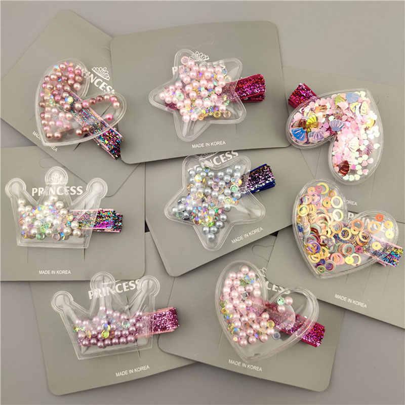 Accessories Crown Glitter  Sequin Hair Clips  Barrettes BB Hairpins Rainbow
