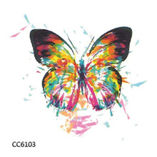 Mini Body Art waterproof temporary tattoos for lady women colourful butterfly design flash tattoo sticker Free Shipping CC6103(China)