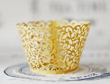 Free Shipping Yellow Lace Fancy Flower Wedding Cupcake Wrappers Filigree Color Paper Mini Cupcakes Cup Cake Baking Cups Wrappe(China)