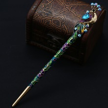 Retro Women Cloisonne Crystal Peacock Hair Stick Hairpin Chinese Style Handmade Hair Accessories
