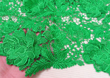 special sales 4 yards bright green guipure lace fabric, high quality crochet african lace, venise lace fabric with 3D floral