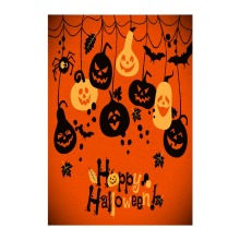 Decorative Outdoor And Indoor Flag For Happy Halloween With Cheerful Pumpkins Designed With Double Sided Printing Home Banner