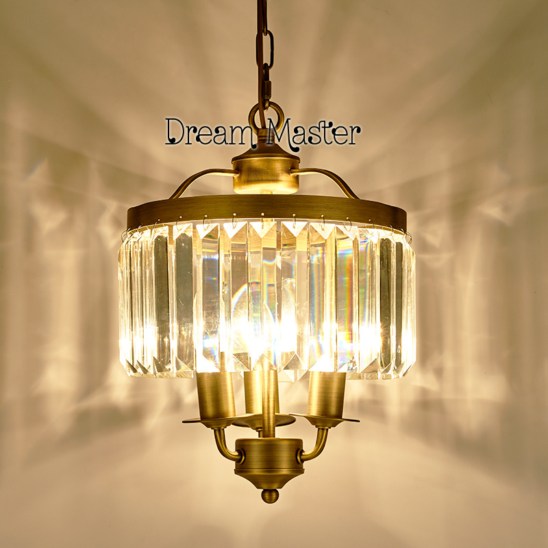 American chandelier full copper crystal European home lights creative personality hallway(China (Mainland))