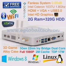 Best Christmas Gift Cheapest Price Mini PC with Intel Celeron 1037U 1.8Ghz 2GB Ram 320G HDD Fanless HTPC UMPC DHL Free Shipping(China)