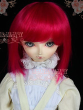 "8""-9"" BJD short wig red bright redstudent style - sd10 sd16(China)"
