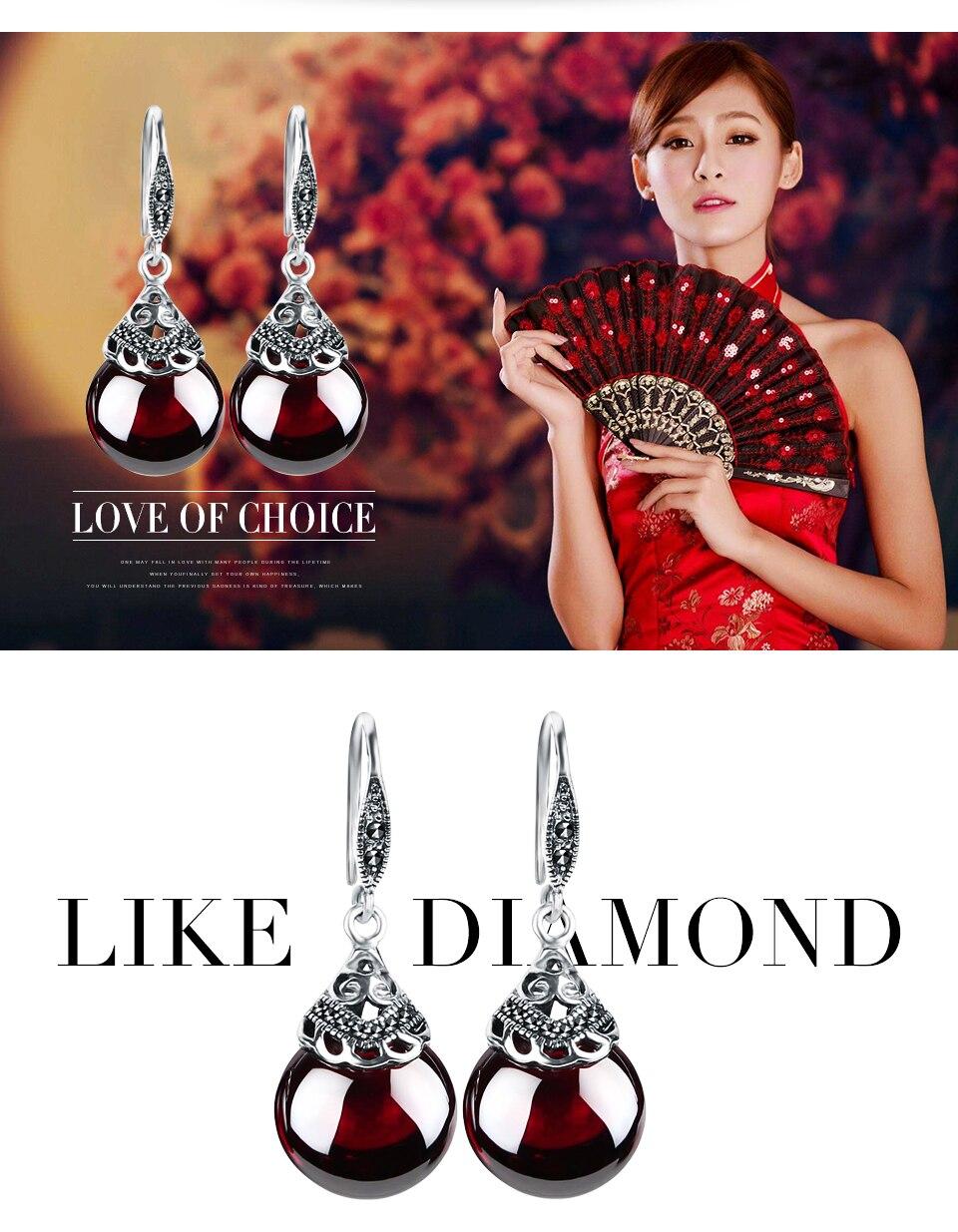 Edi Retro Round Gemstone Garnet Earrings Female 100 925 Sterling Kopi Bos By Ila Arifin Amr Silver Fine Jewelry Us631