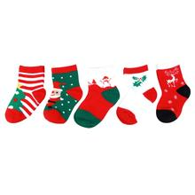 5 Pairs Baby Kids Socks Snowflake Deer Printed Cotton Ankle Stripe Warm Socks Christmas Gift Children\'s Socks 1-12Y(China)