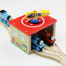 P050 Wooden houses + helicopter apron train combination package compatible wooden Thomas train tracks train the necessary scenes