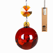 New Arrival Crystal Red Hanging Round Ball Crystal Pendant Light DIY Window Hanging Christmas Ornament Crystal Prisms Home Decor(China)