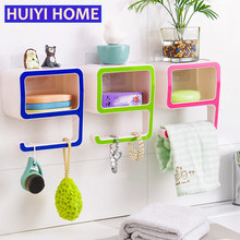HUIYI HOME Bathroom Towel Holder Number 9 Shape Plastic Soap Cosmetics Storage Racks Wall Shelf EGN404(China)
