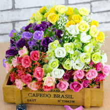 7 Branches 21 Heads Colorful Artificial Plastic Rose Silk Flower Wedding Bride Small Roses Bouquet Office Home Party Decoration