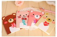5pcs/lot Kawaii Little Bear 14*10.5cm Notebook Stitching Binding Dairy Notepad School Supplies Hot Sale(China)
