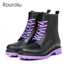 Rouroliu Women Rain Boots Lace-up Ankle Motorcycle Rainboots Waterproof Water Shoes Woman Non-slip Wellies ZJ176(China)