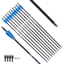 12pcs/lot 30inch Target Hunting Arrows Fiberglass Arrow with Replaceable Arrowhead Spine 500 for Recurve/Coumpond Bows Archery(China)