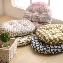 New 2 size Tree Plaid Round Floor Mat Tatami Cushion Pad Bohemia Thick Cotton Home Office Car Sofa Chair Cushions Christmas(China)