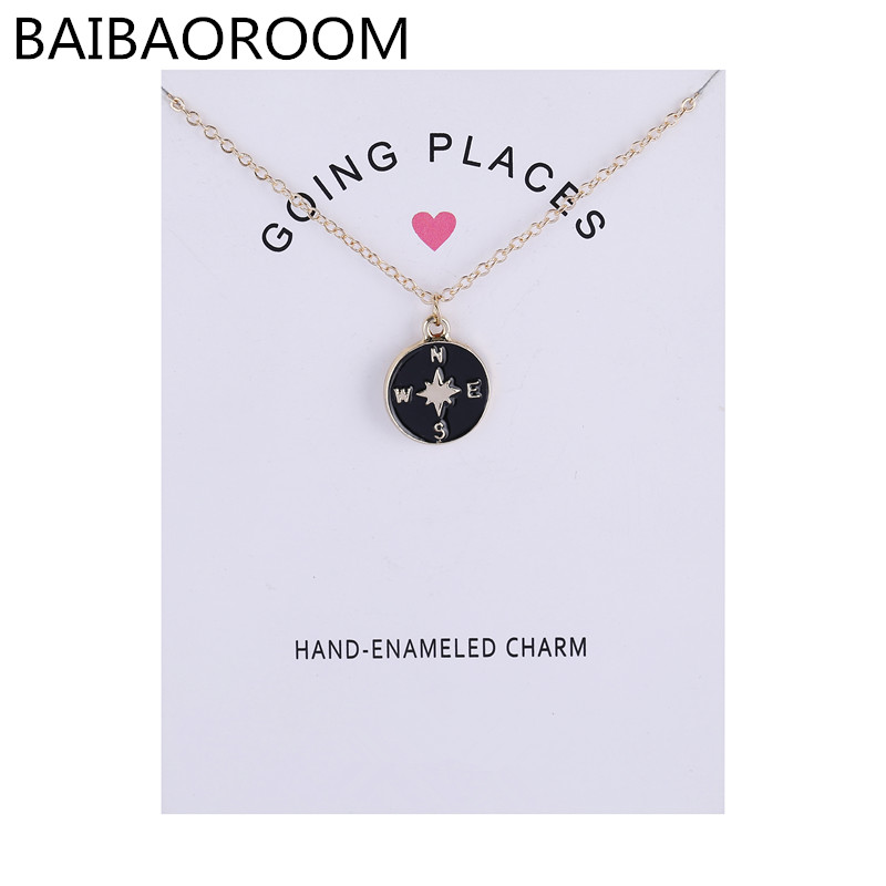 Fashion Jewelry Going Places Glaze Compass Necklace Pendant For Women