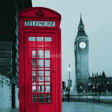 Shower Curtain Bath Waterproof Polyester Fabric Big Ben Phone Booth Design