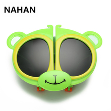 TR90 Cartoon Bear Polarized Children Sunglass Fashion Creative UV400 Kids Sun Glasses Girls Round Eyeglasses As Christmas Gifts(China)