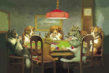 DIY frame Funny Dogs Playing Poker Cards posters and prints home decor Fabric Poster Print