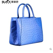 heimanba Ostrich leather women handbag female slanted handbag electric light blue dinner bag ostrich leather women bag(China)