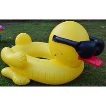 190cm Giant Yellow Duck with Sunglasses Inflatable Adult Pool Float Ride-On Swimming Ring Water Party Outdoor Toys boia piscina(China)