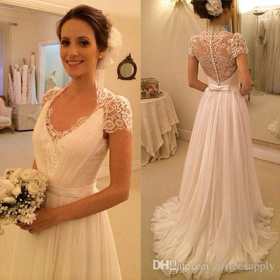 2017 new romantic bohemian wedding dresses with capped sleeves chiffon sweep train a line lace button back bridal gowns