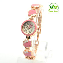 High Quality Cute Hello Kitty Watch Children Girls Women Fashion Dress Quartz Wrist Watch Hours Reloj Mujer GO085