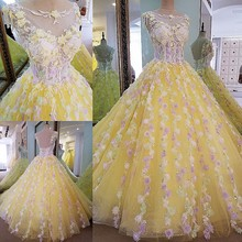 2017 New Ball Gown Crystal Scoop Sleeveless Court Train Yellow Tulle Bridal Wedding Dress Lace Wedding Gown Vestido De Noiva