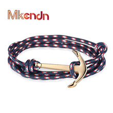 High quality Retro Bracelets Fashion Jewelry 40cm Leather Bracelet Men Anchor Bracelets For Women Best Gift Pulsera