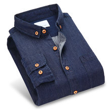 Men Denim Shirts 100% Cotton Long Sleeve Two Chest Pockets Button-down Soft Clothes Slim Fit Solid Color Social Men Casual Shirt(China)