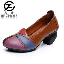 Spring and Autumn spell color Genuine leather retro women shoes high heels national style Crude heel anti-skid mother shoes obuv