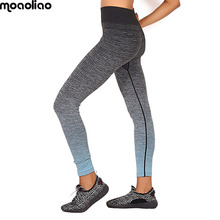 Buy Running Elastic Cropped Athletic Trousers Women Yoga Pants Gradient Color Fitness Sports Leggings High Waist Stretch Gym Workout for $7.95 in AliExpress store