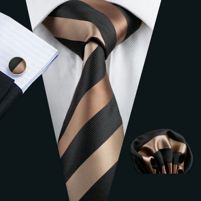 LS-585 2016 Barry.Wang Men`s Tie Silk Striped Jacquard Woven Classic Tie+Hanky+Cufflinks Set For Formal Wedding Business Party(China (Mainland))
