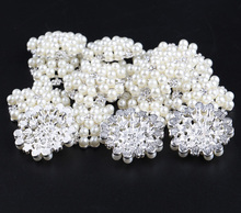 (50pcs/lot)32mm Chic Silver Base Pearl Crystal Rhinestone Button Artificial Flatback Alloy Button For Baby Girl Headbands