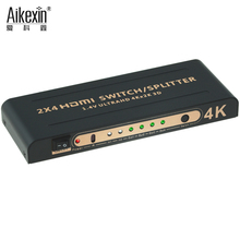 Aikexin 2x4 HDMI Switch Splitter 1.4a 4K*2k 2160p 1080p Supports single high definition display for multiple sources(2 in 4 out)