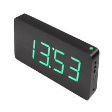 Wood Clock Alarm Clock Voice Digital Electronic LED Clock Black Green Big numbers with digital clocks