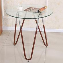 Steel glass round table. Small table.
