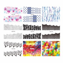 WUF 1 Sheet Optional Flower Mesh Snake Skin Designs Nail Art Sticker Water Transfer Stickers Flower Decals Tips Decoration
